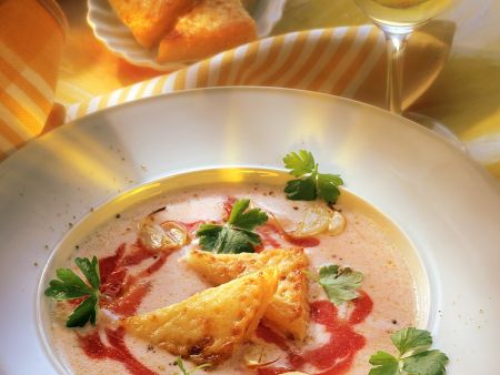 Cold Buttermilk-Tomato Soup with Cheesy Toast