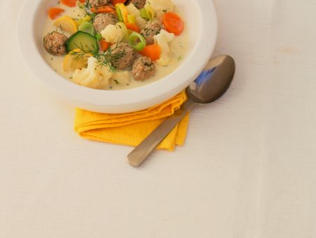 Creamy Vegetable Soup with Meatballs