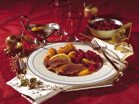 Duck à L'orange with Candied Cranberries