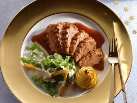 Duck Breast with Savoy Cabbage, Carrots and Duchess Potatoes