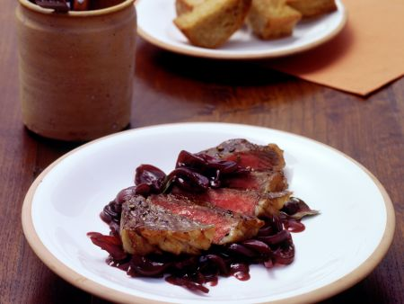 Fillet Steaks with Red Wine Shallot Steaks