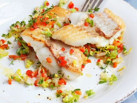 Fish fillets with bell pepper salad recipe eat smarter usa for What to serve with fish fillets