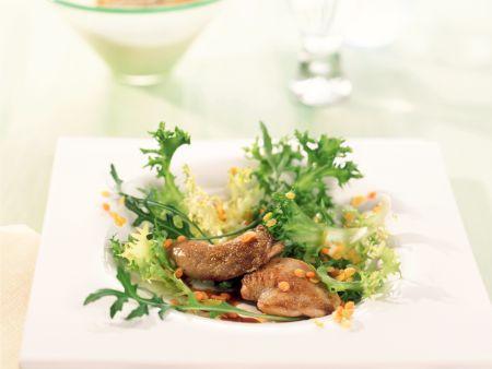 Frisee Arugula Salad with Quail and Lentils recipe | Eat ...