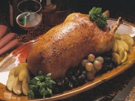 Fruity Stuffed Roast Goose with Apples and Prunes