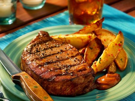 Grilled Steaks with Potato Wedges
