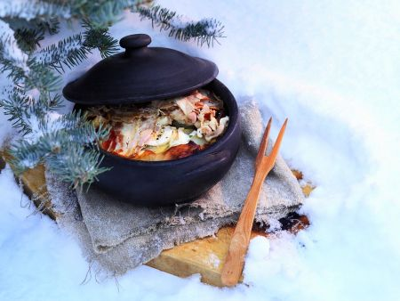 Hearty Stew with Cabbage and Ham