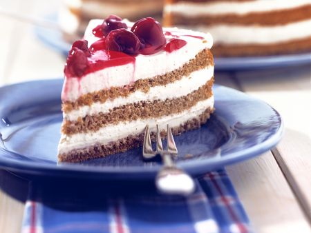 Layered Buckwheat Cake with Cherries