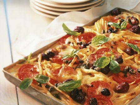Macaroni and Veggie 'flatbread'