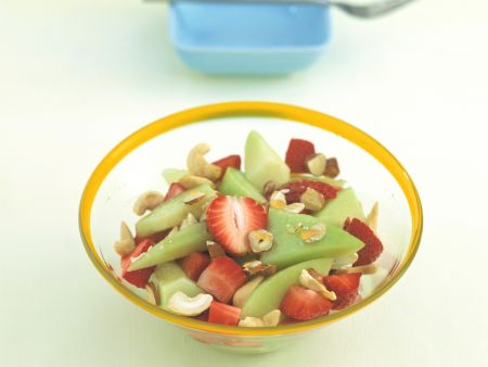 Melon-Strawberry Salad with Hazelnuts
