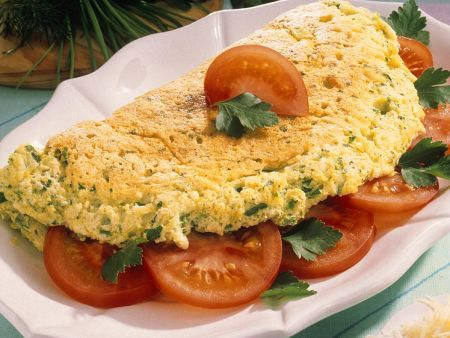 Omelets with Herbs and Tomatoes
