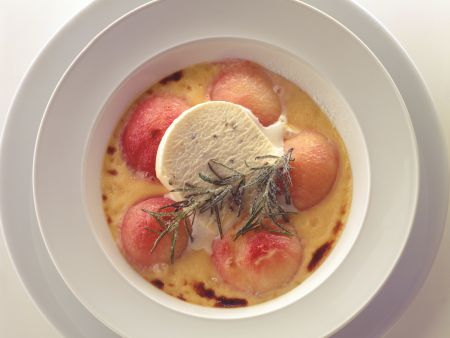 Peach Gratin with Rosemary Honey Parfait