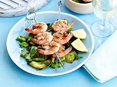 Shrimp Skewers with Pesto on Grilled Vegetables recipe ...