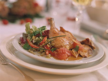Pheasant with Lentil Salad