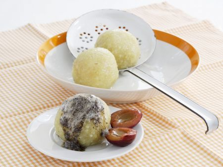 Plum Dumplings with Poppy Seed Butter