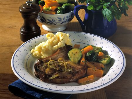 Pork Chops with Carrots and Brussels Sprouts