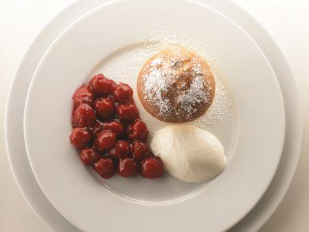 Quark Souffle with Balsamic Cherries