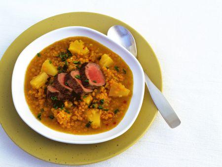 Red Lentil Soup with Lamb Fillet