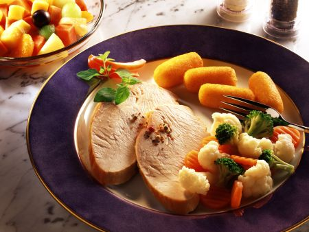 Roast Turkey with Broccoli, Cauliflower and Potato Croquettes