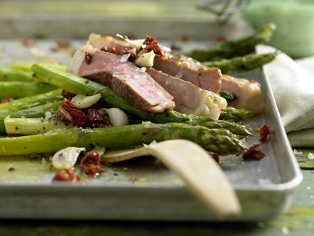 Roasted Asparagus and Veal Steak