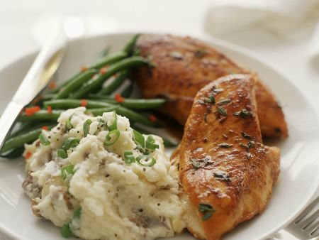 Roasted Chicken Breast with Mashed Potatoes and Green ...