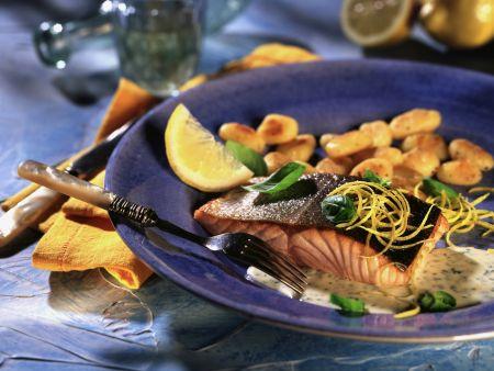 Roasted Salmon with Lemon and Basil Sauce