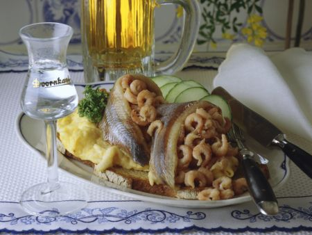 Scrambled Eggs with Crab and Pickled Herring