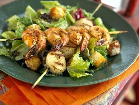 Seafood Kebabs with Salad