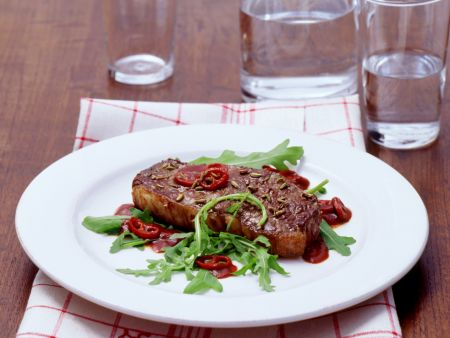 Sirloin Steaks with Arugula and Balsamic Vinegar Sauce