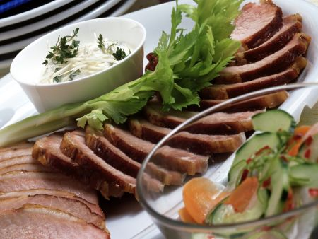 Smoked Pork Loin with Sweet and Sour Pickles and Horseradish Cream