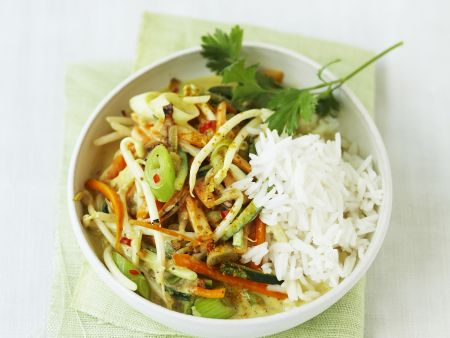 Spicy Coconut Vegetables with Rice