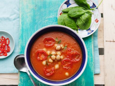Spicy Vegetable Soup with Garbanzo Beans recipe | Eat ...