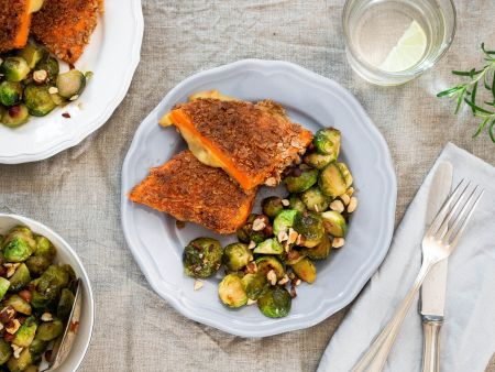 Stuffed sweet potato cutlets with Brussels sprouts