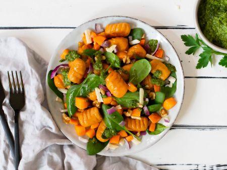 Sweet potato gnocchi with herb pesto