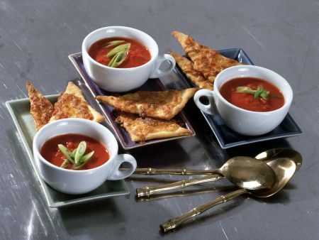 Tomato-ginger Soup with Spicy Cheese Crisps