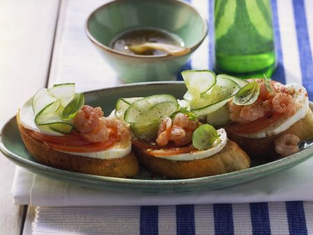 Tomato, Mozzarella and Shrimp on Toast