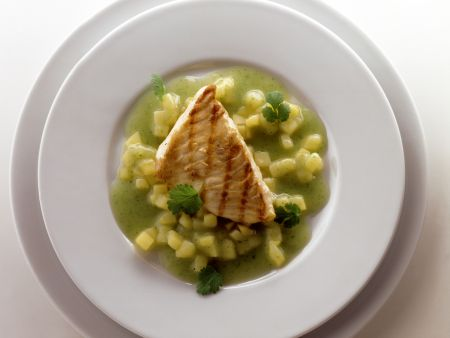 Turbot Fillet with Potato and Cilantro Sauce