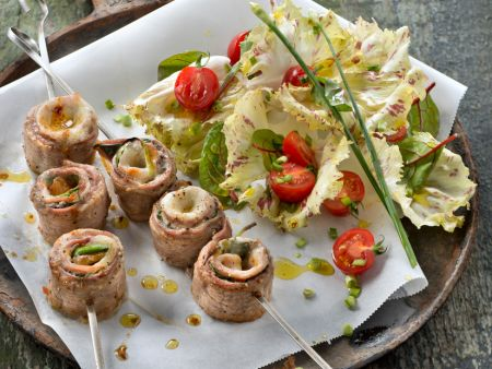Veal Escalope Kebabs with Leaves