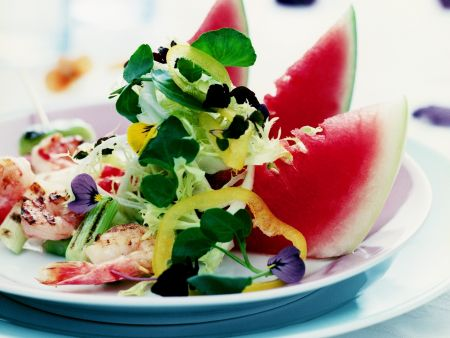 Melon Wedge and Prawn Salad