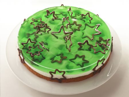 White and Green Layer Cake with Chocolate Stars