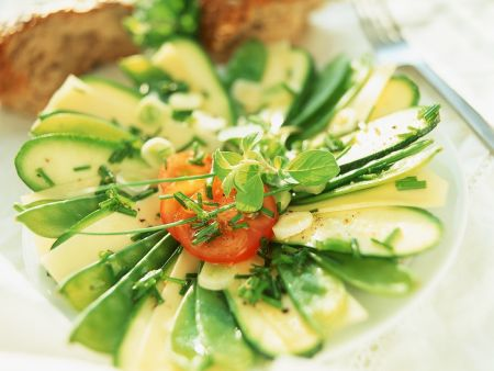 Zucchini-Cheese Salad with Tomatoes
