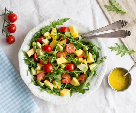 Arugula Salad with Mango, Avocado and Cherry Tomatoes