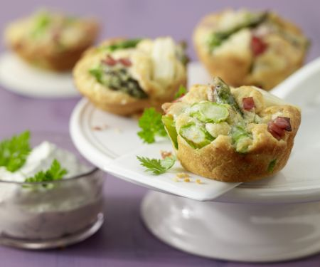 Asparagus and Ham Muffins with Herb Dip