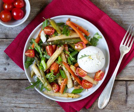 Asparagus Carrot Burrata Salad