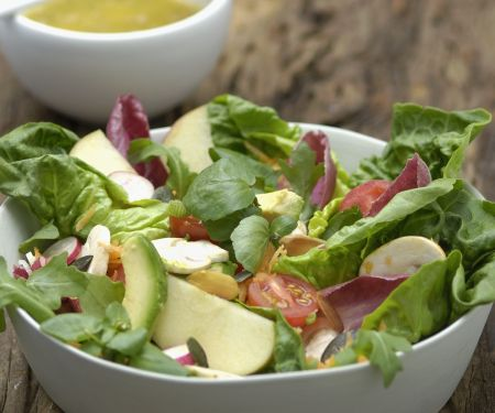 Avocado with Dressed Mixed Leaves