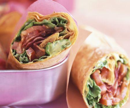 Bacon and Lettuce Tortilla Wraps