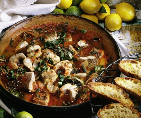 Baked Eel in Tomato Sauce with Chard