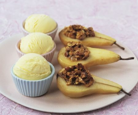 Baked Pears with Raisin Pecan Filling