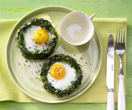 Baked Spinach Nests