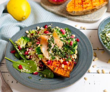 Baked Sweet Potato with Quinoa Salad and Salmon