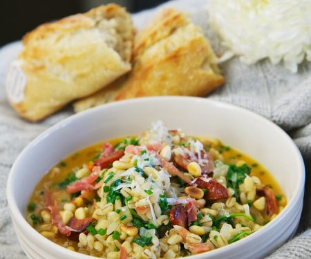 Barley Soup with Pine Nuts and Bacon